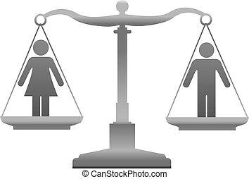 gerechtigkeit, gleichheit, geschlecht, waage, geschlecht