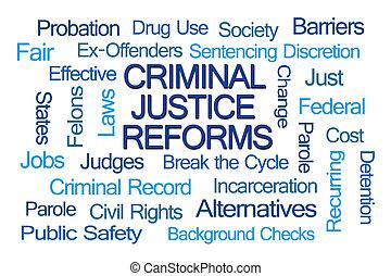 gerechtigkeit, kriminell, wort, wolke, reforms
