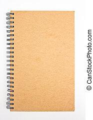 gerecyclde, papier, aantekenboekje, voorkant, cover.