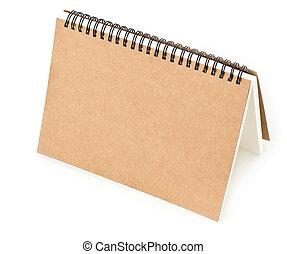 gerecyclde, papier, aantekenboekje, voorst dekken, op wit,...
