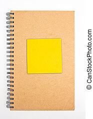 gerecyclde, papier, aantekenboekje, voorst dekken