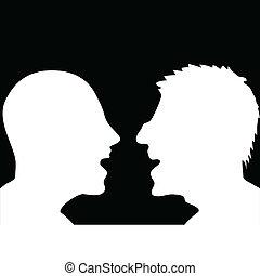 geredeneer, silhouette, twee mensen