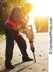 gereed, boor, pneumatische hamer, uitrusting, arbeider, ...