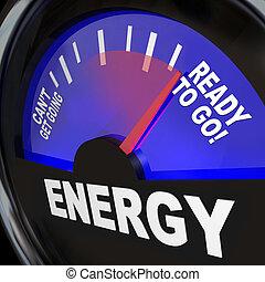 gereed, gaan, energie, meten, brandstof