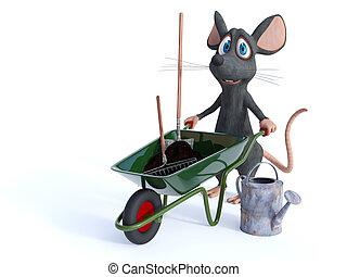 gereed, het glimlachen, gardening., muis, spotprent