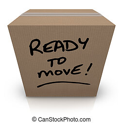 gereed, om zich te bewegen, karton, verhuizing, verhuizing