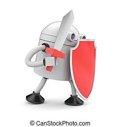 gereed, robot, vechten