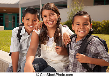 gereed, schattig, zuster, broers, school