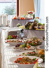 gereed, tafel, ontvangst, elaborated