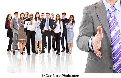 gereed, zakenmens , delen, open, zeehondje, hand