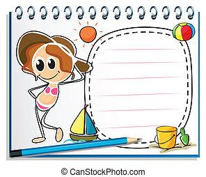 gereed, zomer, beeld, aantekenboekje, meisje