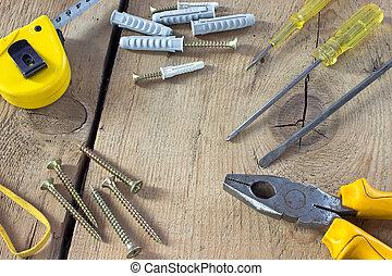 gereedschap, achtergrond, houten