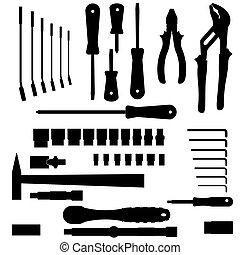gereedschap, anders, vector, set