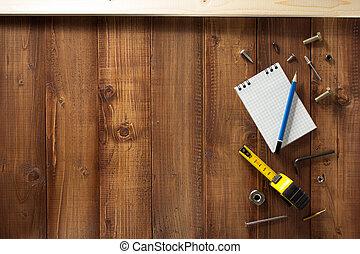 gereedschap, bouwsector, achtergrond, houten