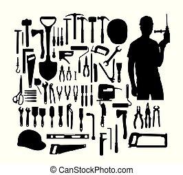 gereedschap, bouwsector, silhouette
