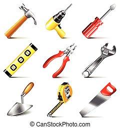 gereedschap, bouwsector, vector, set, iconen