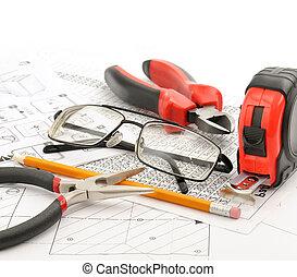 gereedschap, bril, tekening