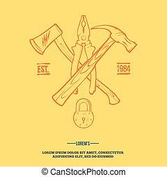 gereedschap, communie, ouderwetse , etiketten, vector,...