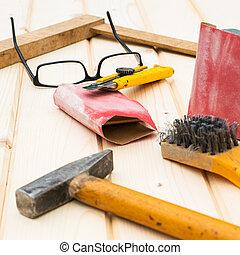 gereedschap, concept, timmerman, doe het zelf, tafel