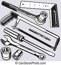 gereedschap, contactdozen, hand