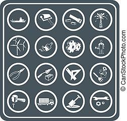 gereedschap, en, industrie, pictogram, set
