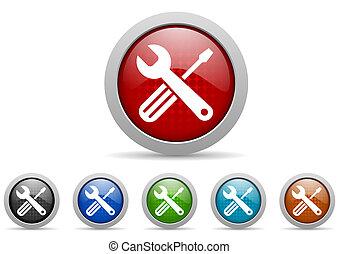 gereedschap, glanzend, web beelden, set, op wit, achtergrond