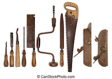 gereedschap, hout, oud, samenstelling