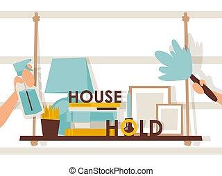 gereedschap, huishouding, boek, artikel, methodes, over,...