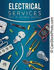 gereedschap, kabel, dienst, uitrusting, macht, elektrisch