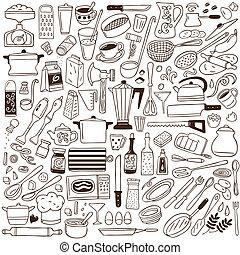 gereedschap, keuken, -, verzameling, doodles