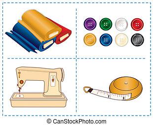 gereedschap, kleuren, naaiwerk, juweel