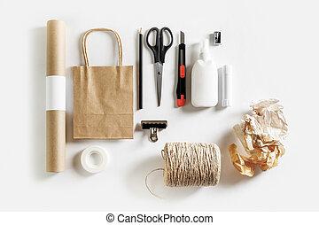 gereedschap, materialen, scrapbooking