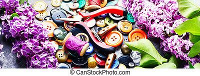gereedschap, naaiwerk, tak, sering