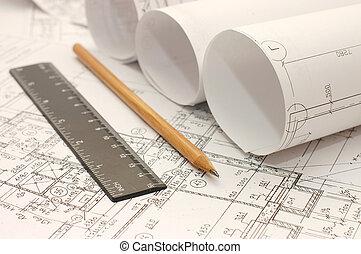 gereedschap, ontwerp, bouwschets