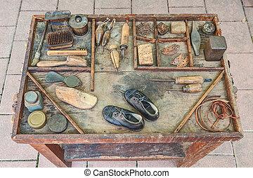 gereedschap, oud, schoenmaker