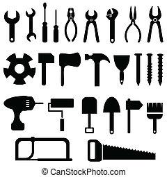 gereedschap, pictogram, set
