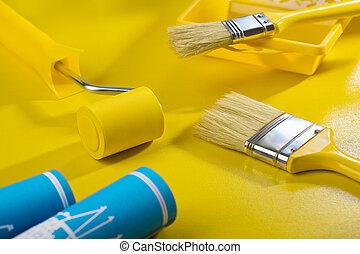 gereedschap, schilderij, samenstelling