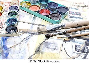 gereedschap, schilderij