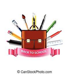 gereedschap, school, concept, back, schooltas, tekening