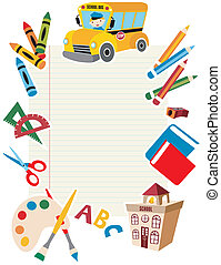 gereedschap, school, supplies., back