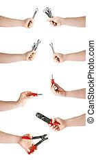 gereedschap, set, vasthouden, werkende , op, vrijstaand, hand, achtergrond, witte , samenstelling