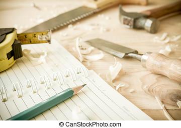 gereedschap, timmerman, tafel., hout