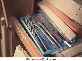 gereedschap, tinten, woodworking, oud, retro