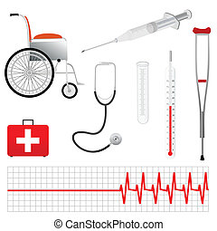 gereedschap, vector, medisch