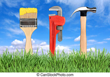 gereedschap, verbetering, pijpmoersleutel, thuis, penseel,...