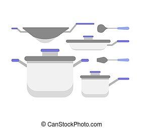 gereedschap, verzameling, keuken