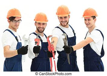 gereedschap, werkende , loodgieters, groep