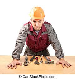 gereedschap, werkende , man