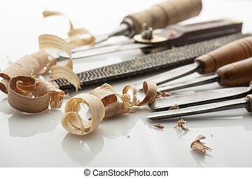 gereedschap, witte , shavings, bord, houtbewerker