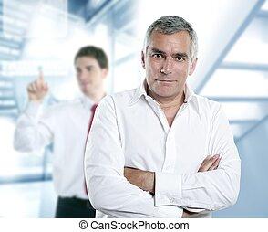 gerente, cabelo, cinzento, olá-tecnologia, escritório, ...